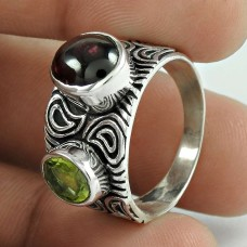 925 Sterling Silver Indian Jewelry Beautiful Garnet, Peridot Gemstone Ring