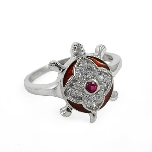 Indian Sterling Silver Jewelry Charming White CZ, Inlay Gemstone Turtle Ring