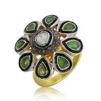 925 Sterling Silver Jewellery Ethnic Diamond, Inlay, Emerald Ring