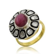 925 Sterling Silver Jewellery Beautiful Diamond, Inlay, Garnet Ring