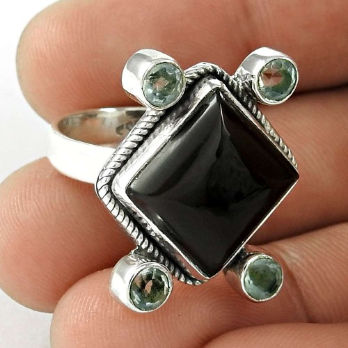 925 Silver Jewelry Beautiful Black Onyx, Blue Topaz Gemstone Ring