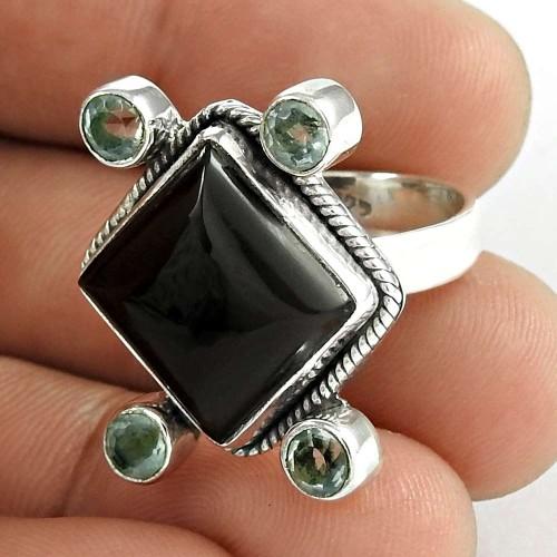 925 Sterling Silver Jewelry Fashion Black Onyx, Blue Topaz Gemstone Ring