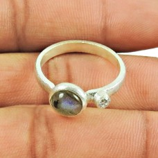 925 Silver Jewellery Party Wear Labradorite, CZ Gemstone Ring Lieferant