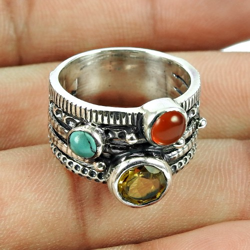 Sterling Silver Jewellery Daily Wear Citrine, Turquoise, Carnelian Gemstone Ring Manufacturer