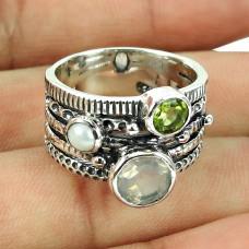 925 Sterling Silver Fashion Jewellery Daily Wear Pearl, Peridot, Rose Quartz Gemstone Ring Hersteller