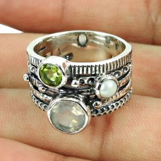 925 Sterling Silver Indian Jewellery Party Wear Rose Quartz, Pearl, Peridot Gemstone Ring Hersteller