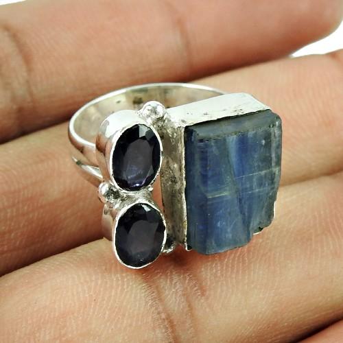925 Sterling Silver Jewellery Beautiful Iolite, Kyanite Rough Stone Ring