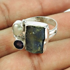 925 Sterling Silver Fashion Jewellery Daily Wear Kyanite, Pearl, Iolite Rough Stone Ring