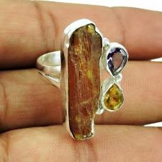925 Sterling Silver Vintage Jewellery Trendy Amethyst, Citrine, Sunstone Rough Stone Ring