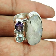 925 Sterling Silver Gemstone Jewellery Rare Amethyst, Blue Topaz, Rainbow Moonstone Rough Stone Ring