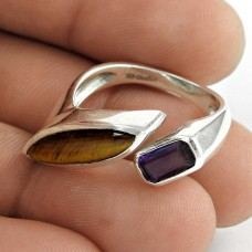 Pretty 925 Sterling Silver Amethyst Tiger Eye Gemstone Ring Jewelry