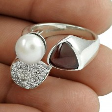 Lovely 925 Sterling Silver Garnet CZ Pearl Gemstone Ring Vintage Jewelry