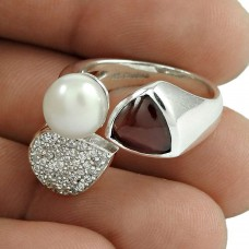 Scenic 925 Sterling Silver Garnet CZ Pearl Gemstone Ring Jewelry