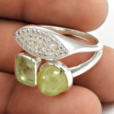 Graceful 925 Sterling Silver Prehnite Gemstone Ring Jewelry