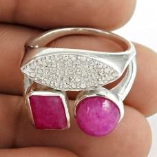 Stunning 925 Sterling Silver Pink Rainbow Moonstone Gemstone Ring Jewelry