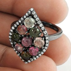Designer Silver Jewelry 925 Sterling Silver Tourmaline Gemstone & CZ Ring