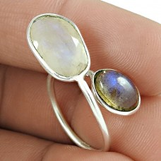 Classic 925 Sterling Silver Rainbow Moonstone Labradorite Gemstone Ring Jewelry