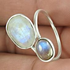 Amusable 925 Sterling Silver Rainbow Moonstone Labradorite Gemstone Ring Jewelry
