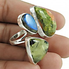 Open Ring Labradorite Prehnite Unakite Gemstone 925 Sterling Silver Wholesale Jewelry