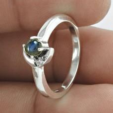 Scenic 925 Sterling Silver Labradorite White CZ Gemstone Ring Jewelry