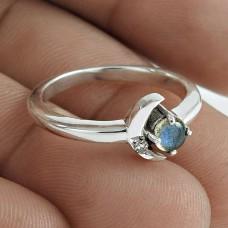 Graceful 925 Sterling Silver Labradorite White CZ Gemstone Ring Jewelry