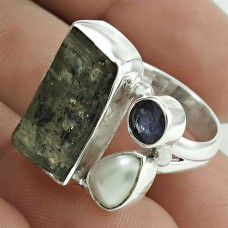 Beautiful 925 Sterling Silver Kyanite, Iolite, Pearl Gemstone Ring Size 7 Antique Jewelry I27