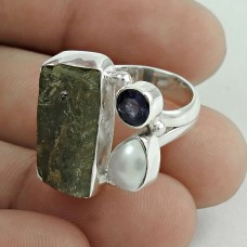 Trendy 925 Sterling Silver Kyanite, Iolite, Pearl Gemstone Ring Size 6 Traditional Jewelry I30