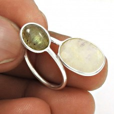 925 Sterling Silver Natural RAINBOW MOONSTONE LABRADORITE Ethnic Ring Size 6 CC25
