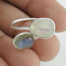 Pleasing 925 Sterling Silver Rainbow Moonstone,Labradorite Gemstone Ring Size 7.5 Vintage Jewelry I61