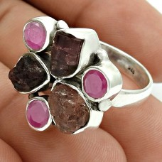 Pleasing 925 Sterling Silver Ruby, Tourmaline Gemstone Ring Size 8 Antique Jewelry I62