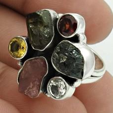 Possessing Good Fortune 925 Sterling Silver Tourmaline, Garnet, Citrine, Crystal Gemstone Ring Size 5.5 Handmade Jewelry I68