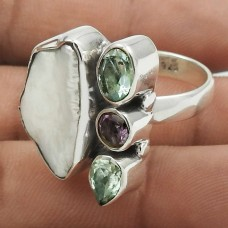 Trendy 925 Sterling Silver Blue Topaz, Amethyst, Pearl Gemstone Ring Size 7 Antique Jewelry I88