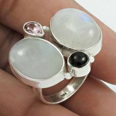 Pretty 925 Sterling Silver Rainbow Moonstone, Black Onyx, Pink C.Z Gemstone Ring Size 8 Handmade Jewelry I97
