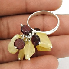 HANDMADE 925 Sterling Silver Jewelry Natural CITRINE GARNET Beaded Ring Size 8 AO9