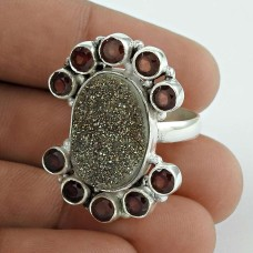 925 Sterling Silver Jewelry Charming Druzy & Garnet Gemstone Ring