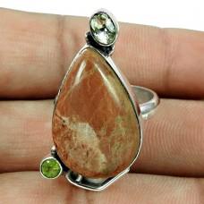 Rare Dynestic Jasper, Crystal, Peridot Gemstone Ring 925 Silver Jewellery