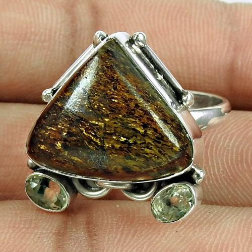 Party Wear Bronzite, Crystal Gemstone Ring 925 Sterling Silver Antique Jewellery