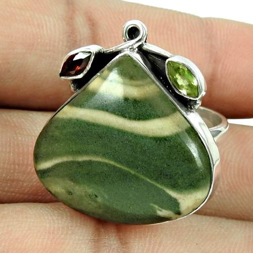 Daily Wear Jasper, Peridot, Garnet Gemstone Ring Sterling Silver Fashion Jewellery