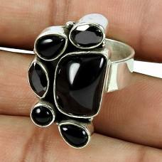 Designer Black Onyx, Black Spinel Gemstone Ring 925 Silver Jewellery