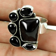 Trendy Black Onyx, Black Spinel Gemstone Ring Indian Sterling Silver Jewellery