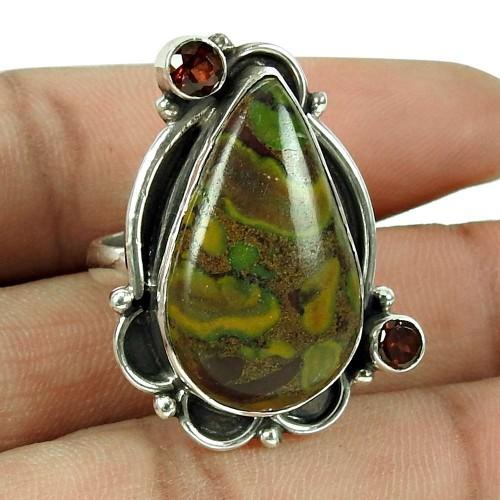 Beautiful Chinese Writing Stone, Garnet Gemstone Ring 925 Sterling Silver Jewellery
