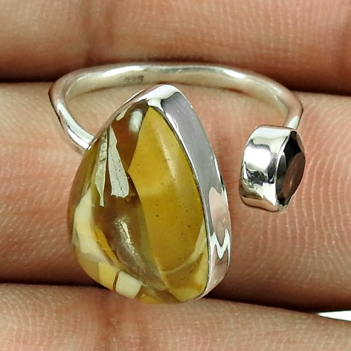 Fashion Mookaite, Smoky Quartz Gemstone Ring 925 Sterling Silver Indian Jewellery