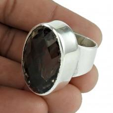 Big Secret Design!! 925 Sterling Silver Smoky Quartz Ring