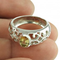 Designer Citrine Gemstone Ring 925 Sterling Silver Indian Jewellery Grossiste