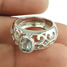 Party Wear Blue Topaz Gemstone Ring Sterling Silver Fashion Jewellery Wholesaler