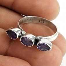 Beautiful 925 Sterling Silver Amethyst Gemstone Ring Jewelry