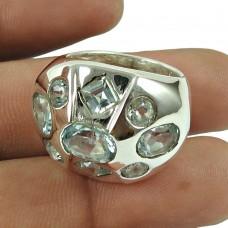 Trendy Blue Topaz Gemstone Fashion Ring 925 Sterling Silver Gemstone Jewellery