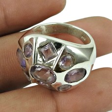 Charming Amethyst Gemstone Fashion Ring 925 Sterling Silver Vintage Jewellery