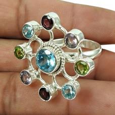 Party Wear Multi Gemstone Chakra Ring Sterling Silver Fashion Jewellery