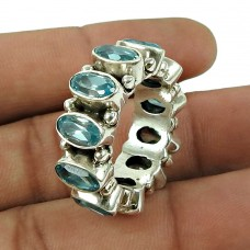 Daily Wear Blue Topaz Gemstone Ring 925 Sterling Silver Jewellery